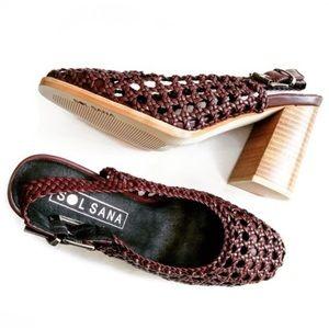 Sol Sana burgundy leather braided slingback heels